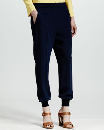 Cuffed Harem Pants, Indigo