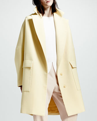 Exaggerated-Lapel Two-Button Coat, Chamomile