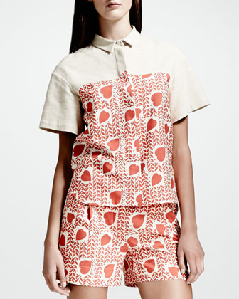 Heart & Lip-Print Blouse & Pleated Shorts