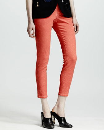 Beaded Stretch Cady Tulip-Hem Top & Four-Pocket Cropped Jeans