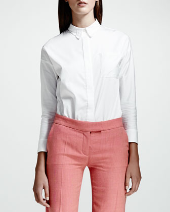 Heart-Collar Cotton Poplin Blouse, White