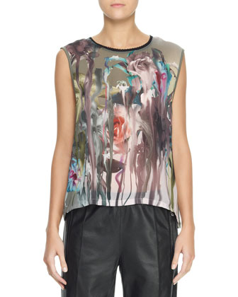 Sleeveless Floral Blouse, Gray/Multi
