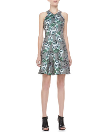 Sleeveless Scroll-Printed Neoprene Dress, White/Gray/Multi