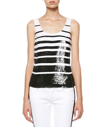 Livie Sequined Stripe Tank