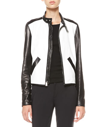 Two-Tone Leather Jacket, Ribbed Scoop-Back Tank & Skinny Ankle Pants