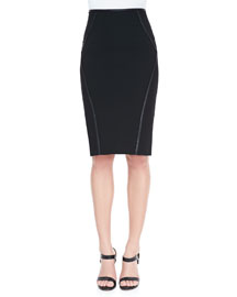 Leather-Trim Pencil Skirt