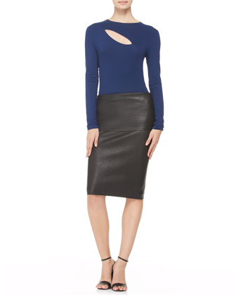Stretch Leather Tube Skirt