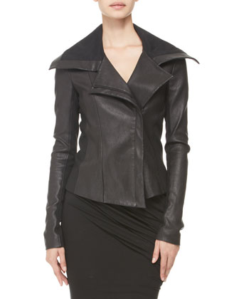 Jersey-Panel Stretch Leather Jacket & Twisted Leather-Strap Tank Dress