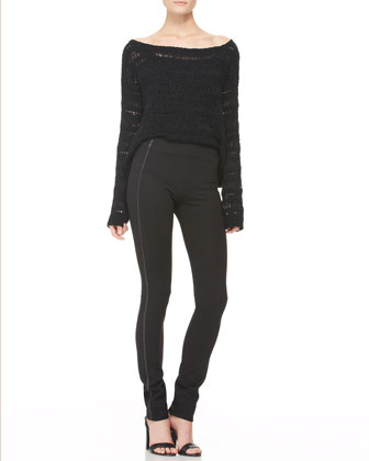 Wide-Neck Macrame Top and Leather-Piped Skinny Pants