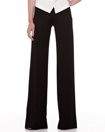 Asymmetric Coin-Embellished Top and Wide-Leg Jersey Trousers