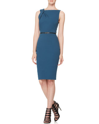 Twist-Shoulder Sheath Dress
