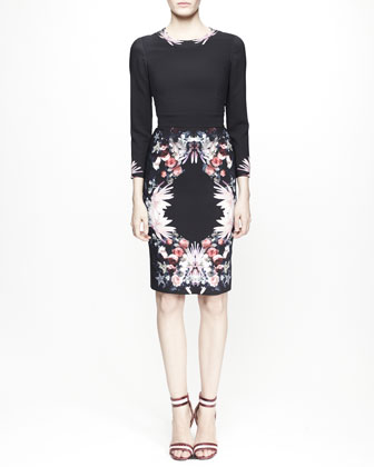 3/4-Sleeve Floral-Print Dress