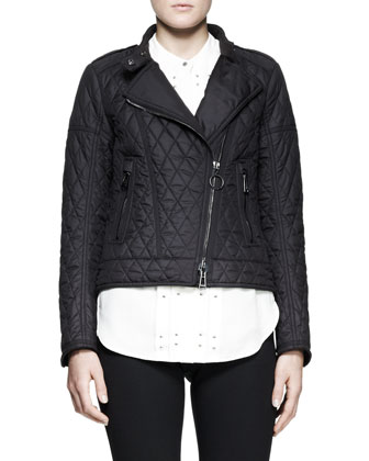 Darcy Pleated Studded Blouse and Longston Quilted Moto Jacket