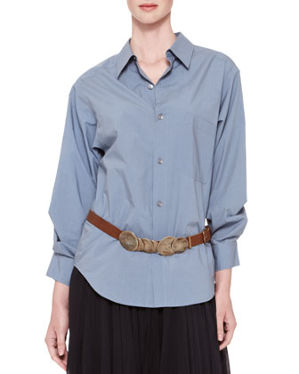 Oversized Stitched-Sleeve Button-Down