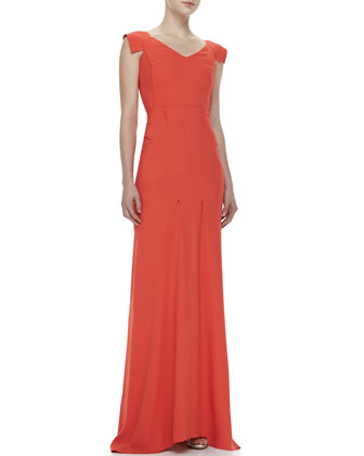 Phoenix Double-Crepe Folded-Sweetheart Gown