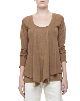 Long-Sleeve Draped Cashmere Cardigan