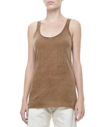 Cashmere Scoop-Neck Tank, Dark Khaki