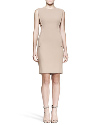 Exposed-Dart Sheath Dress