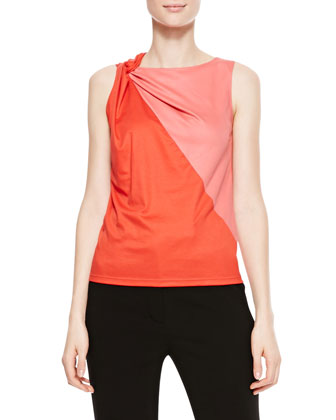 Knot-Shoulder Bicolor Blouse, Hibiscus