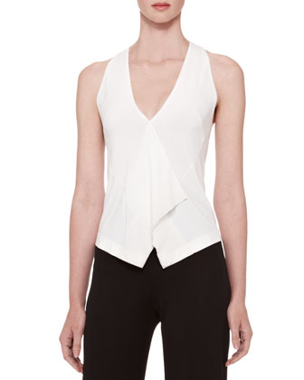 Single-Button Stretch Jacket, Georgette-Trim Vest Top & Wide-Leg Jersey Trousers