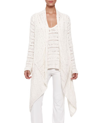 Macrame Drape-Front Sweater and V-Neck Top & Boot-Cut Pull-On Pants