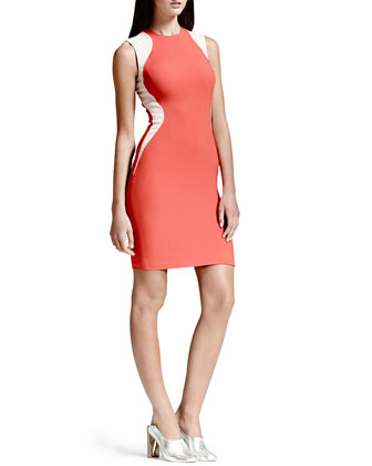 Contour-Colorblock Sheath Dress, Vermillion