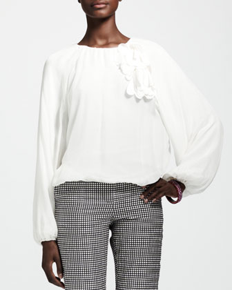 Long-Sleeve Elastic-Waist Blouse, White