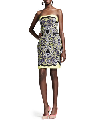 Techno Paisley Mosaic Dress, Yellow