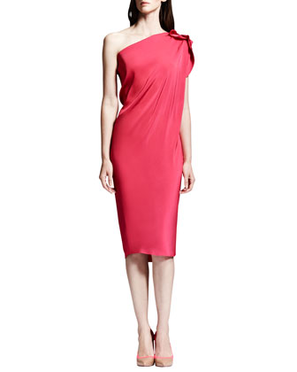 One-Shoulder Washed Satin Dress, Shocking Pink