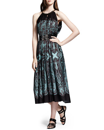 Printed Cutaway-Shoulder Dress, Brown/Turquoise