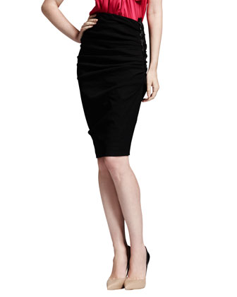 Side-Ruched Stretch-Linen Pencil Skirt, Black