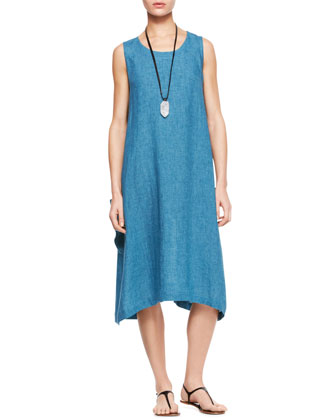 Pleated Sleeveless Dress, Marine