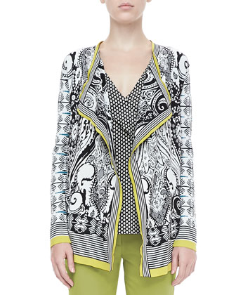 Open Paisley Knit Cardigan, Black/White