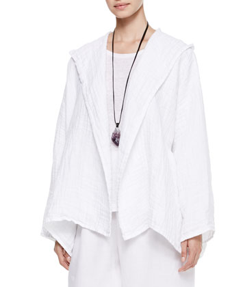 A-Line Open Hooded Coat, Long-Sleeve Smaller Boat-Neck Top & Linen Japanese Trousers