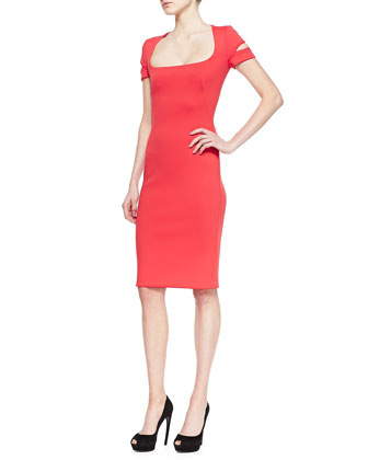 Neoprene Square-Neck Dress