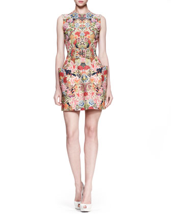Patch-Pocket Floral Dress, Pink/Multi