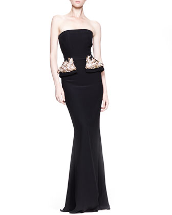 Strapless Gown with Beaded Peplum, Black