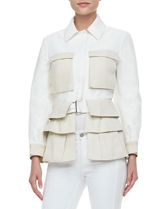 Two-Tone Tiered Utility Jacket