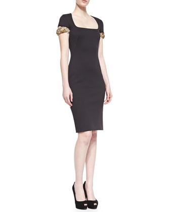 Embellished-Cuff Scuba Sheath Dress