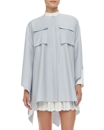 Oversized Buttoned Pique Cargo-Pocket Tunic & Pleated Sangallo Lace Skirt