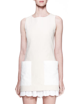 Contrast-Patch-Pocket Tunic, Ivory/Bone