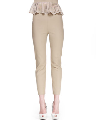 Skinny Side-Zip Pants, Khaki
