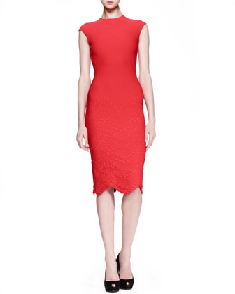 Embossed Cap-Sleeve Dress, Red