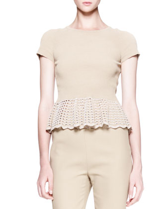 Scalloped-Lace-Peplum Top, Khaki