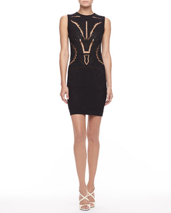Knit Cutout Sheath Dress, Black