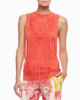 Fringe Knit Top, Coral