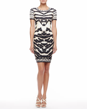Tiger-Print T-Shirtdress, Beige/Black