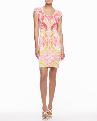 Cap-Sleeve Scoop-Neck Printed Dress, Pink/Neon