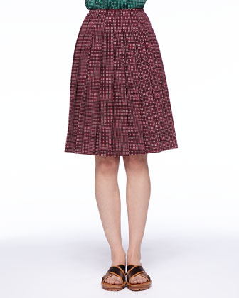 Grid-Print Bow-Front Blouse and Pleated Skirt