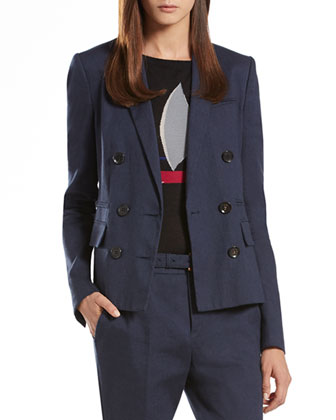 Dark Blue Linen Cotton Double-Breasted Jacket